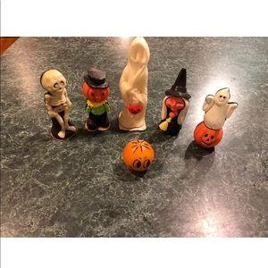 Vintage Lot Of Wizard Halloween Wax Figurines